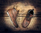Handcrafted HIGHTOP Leather Boat Shoes - Distressed Oiled Dark Tan Cowhide & etched pistols - Dark Brown CUFF