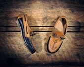 Navy & Waxed Tan Cowhide Boat Shoes with etched ANCHORs - Navy blue cowhide lined - MADE TO ORDER
