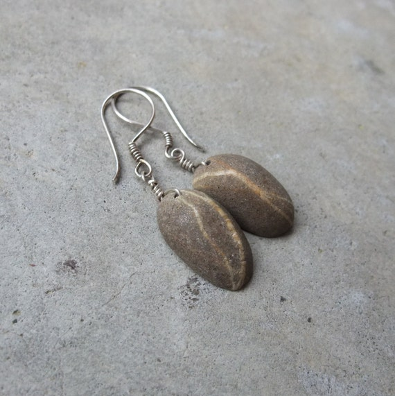 Beach stone jewelry - unique pair of natural stone earrings cut out of one pebble