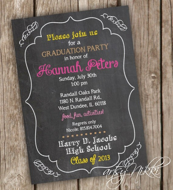 graduation party invitation chalkboard style graduation