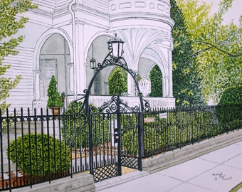 A Place Where Time Stands Still Two Meeting Street Charleston SC Print from the Original Watercolor by Michael Joe Moore