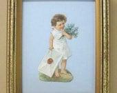 Antique Victorian Valentine Decor 1890's Victorian Scrap Little Girl Delivers Giant Love Letter