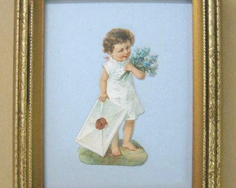 Antique Victorian Valentine Decor 1890's Victorian Scrap Little Girl Delivers Giant Love Letter