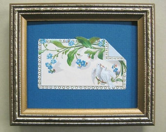 Romantic Card Forget Me Nots White Doves Antique Victorian Calling Card Die Cut Framed