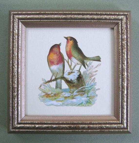 Birds in the Snow Rustic Bird Art Victorian Bird Illustration Victorian Die Cut Rustic Cottage