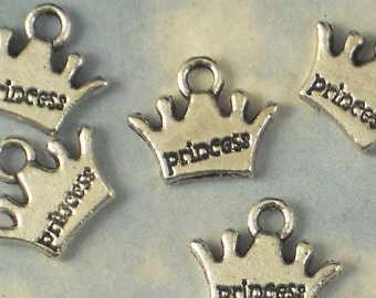 20 Princess Crown Charms Antiqued Silver - Great for Girl's Party Goodie Bags (P672)