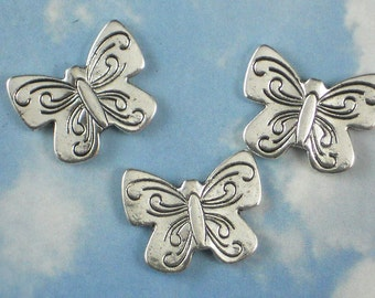 5 Butterfly Beads Antiqued Silver Hill Tribes Style Bead 22mm Butterflies (P390)