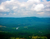 Photograph Emerald Green and Blue Virginia Countryside Rolling Hills Landscape, Appalachian Mountains, Shenandoah Valley and Clouds