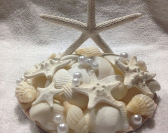 "Sea Shell Beach Wedding Seashell ""Star Dreams"" Cake Topper Bride Keepsake"