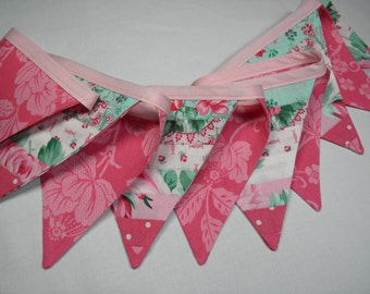 Free USA Shipping/Pink Floral Fabric Banner/Fabric Banner/Fabric Flag/Photo Prop Banner/Birthday Pennant/Birthday Banner/Pennant