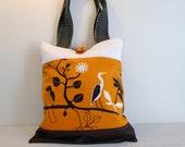 Patchwork Tote Bag Shopper Magazine Shoulder Bag Orange White