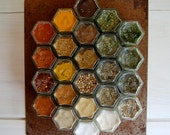 Rustic Magnetic Spice Rack:  Includes 24 Organic Seasonings (1.5 oz) and Hanging Rusted Wall Plate. Unique Wedding Gift by Gneiss Spice.