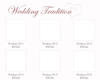 Line Sheet or Wholesale Marketing template - Wedding Tradition design
