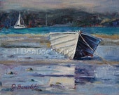 Original oil Painting Nautical BOAT art Beach Decor Impressionism ocean wall decor palette knife art - JBeaudetStudios
