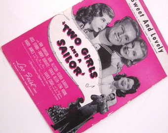 Vintage Sheet Music Two Girls and A Sailor Sweet and Lovely Pink 1930s