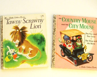 Vintage Picture Books Country Mouse City Mouse Tawny Scrawny Lion Golden Book  Set of Two