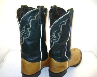 REDUCED Vintage Tony Lama Cowboy Boots Dark Green / Tan 2 Tone Leather Sharp size 6.5 M Man, Urban Cowboy, 4H Rodeo,  Medium, Texas, Reduced