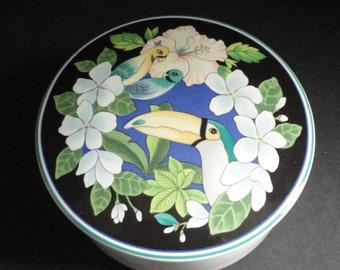 Tropical Bloom Trinket Box. Mikasa. Tropical Birds.