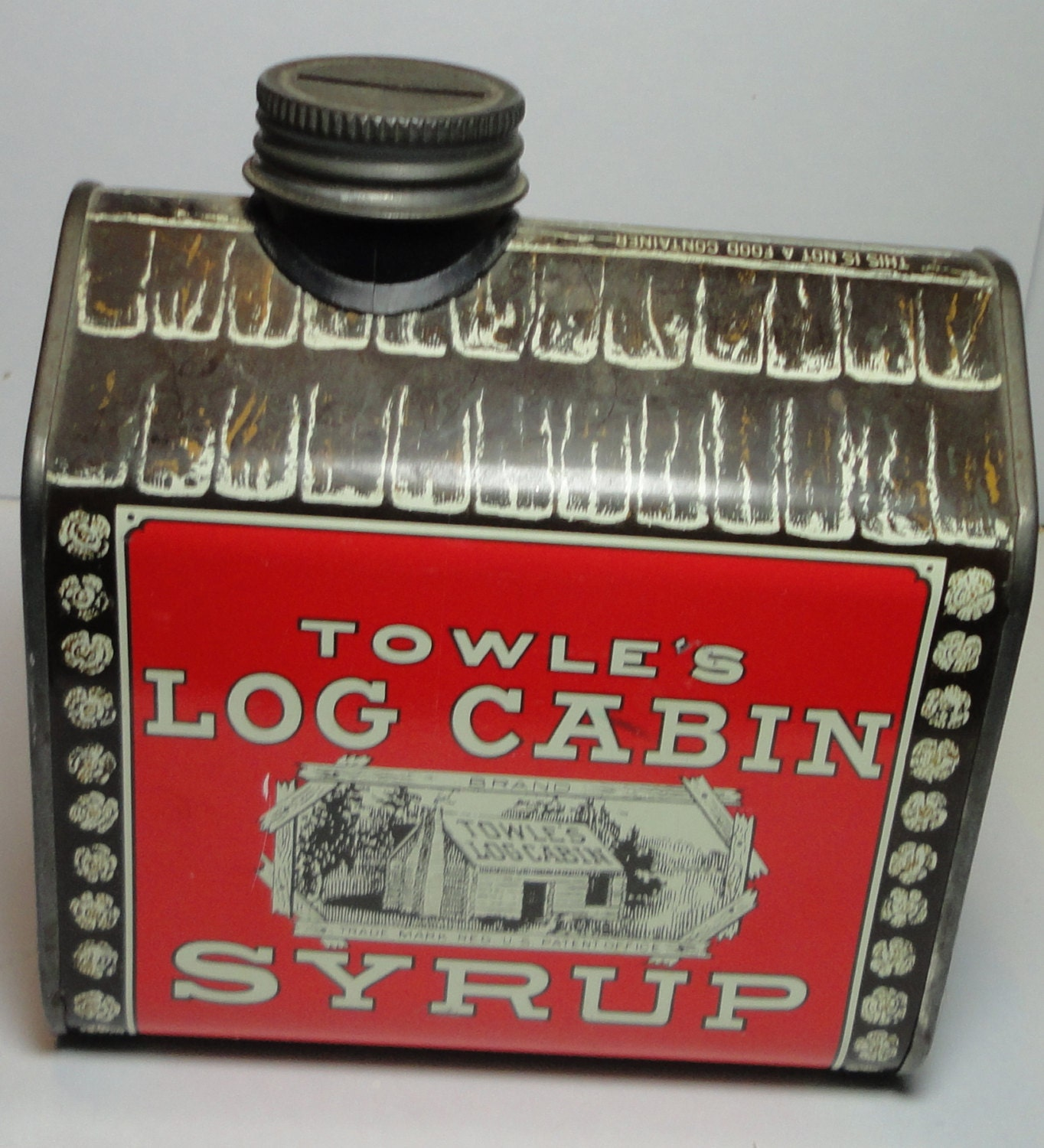 Towle s log cabin syrup tin can bank