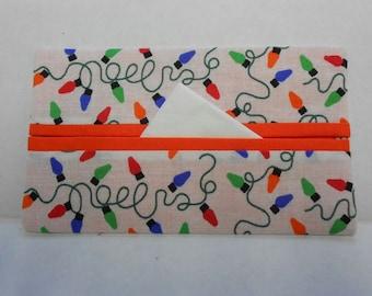 Holiday Lights Tissue Cozy/Gift Card Holder (orange lining)/Party Favor/Wedding Favor