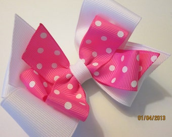 Double Boutique White and Pink Swiss Dot Hair Bow