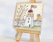 Mini Painting Primitive Lighthouse, Hand Painted On Mini Canvas