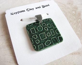 Handmade Ceramic Pendant Emerald Green with Geometric Pattern