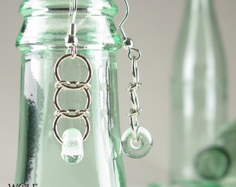 Recycled Glass Eco Friendly Earrings Lampwork Bead Ladder Drop Earrings