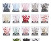 150 Printed Design Paper Straws with Editable PDF File - Stripes and Dots - Mix and Match Colors - Weddings - Parties - Favors