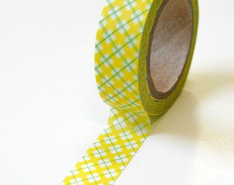 Washi Tape - 15mm -Yellow and Green Plaid - Deco Paper Tape No. 63
