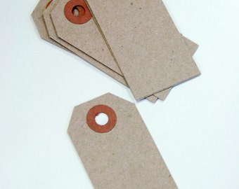 Mini Shipping Paper Tags - Natural Brown Kraft - 1.375 x 2.75 - Pack of 25