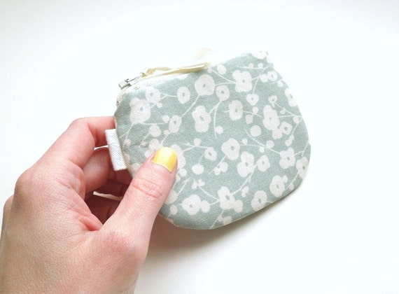 Pastel Mint and White Floral Coin Purse Small Zipper Pouch