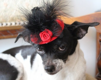 Red  color   mini  hat with   feather and   flowers for dog or cat