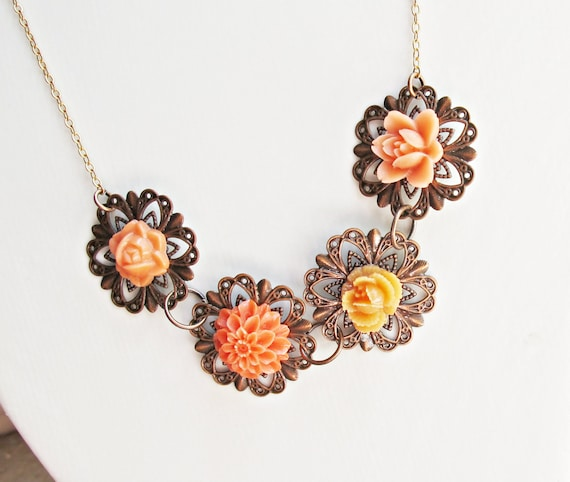 Maliae Necklace, Orange Flower Cobochon