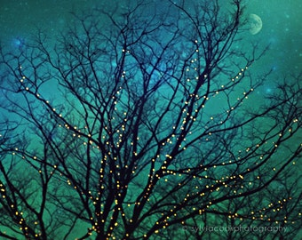 "Nature photograph ""Magical night"" twinkle lights,tree branches,night photography, turquoise, aqua, home decor, fantasy"
