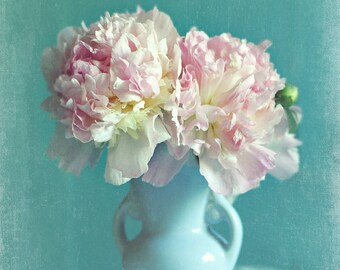 "Peony photograph ""Sweetness"" pink peonies, spring home decor, floral photography, pastel photograph, pink, aqua,flowers,Shabby chic decor"