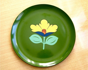 Dark Green Tray with Flower / Vintage