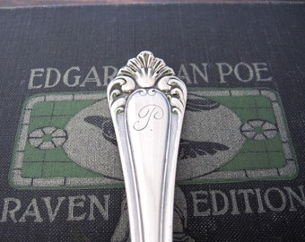 Antique P Monogrammed Berry Spoon, Puritan 1900 by Rockford Silver Plate Co.