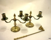A Pair of ANTIQUE FRENCH Brass CANDLELABRA