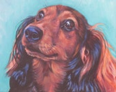 red long haired Dachshund dog art portrait CANVAS print of LA Shepard dog painting 8x10