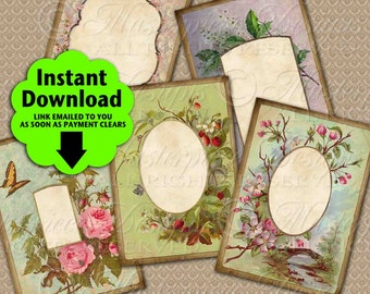 Victorian Garden Printable Hang Tags / Jewelry Cards, Blank - Printable 2.5x3.5 Inch Designs Instant Download and Print JPG Collage Sheet