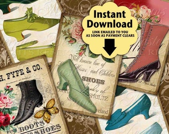 Old Fashioned Shoes Printable Hang Tags / Boots Slippers Victorian Ads Advertisements Hang Tags / Gift Tags - Printable JPG Collage Sheet