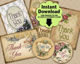 "Thank You Tags / Hang Tags Cards - Printable Mixed 2.5""x3.5"" Rectangle and 2.5"" Round designs / Instant Download and Print Digital Sheet"