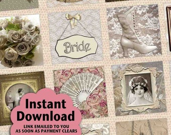 I Thee Wed Vintage / Wedding / Bride - Printable INSTANT DOWNLOAD 1x1 Inch Square Tiles Digital JPG Collage Sheet