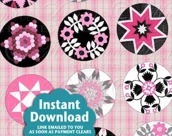 Quilt Designs / Antique Patterns / Pink & Black / Printable - INSTANT DOWNLOAD 1 Inch Round Digital JPG Collage Sheet