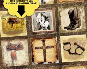 The Old West Printable Squares / Cowboy / Cowgirl / Western Saddle Horse Boots Cowboy Hat - DOWNLOAD 1x1 Inch Square Tiles JPG Collage Sheet