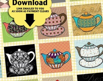 I'm A Little Teapot Printable Squares / Tea / Teapot / Tea Party / Craft Squares - Printable DOWNLOAD 1x1 Inch Squares JPG Collage Sheet