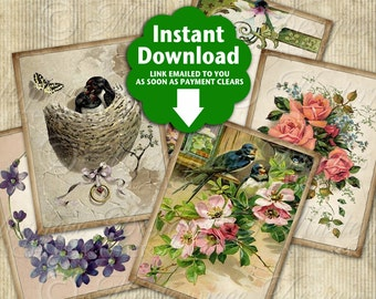 Quite Lovely Printable Hang Tags / Flowers Floral Birds Spring - Printable Download Hang Tags, Gift Tags Download and Print Collage Sheet