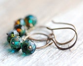 Beaded Earrings with Blue and Brown Czech Glass Beads and Small Hoops - Bayou - Summer Fashion Trends Rustic Earrings