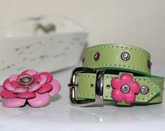 Light Green Genuine Leather Dog Collar /Pink  Flower
